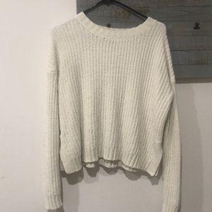 white chenille sweater